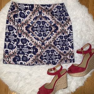 Joe Fresh Blue & White Floral Pattern Skirt